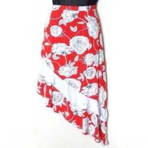 Jaase Red Floral Assymetrical Skirt